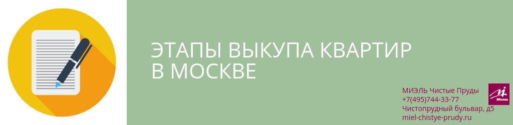 Этапы выкупа квартир в Москве. Агентство Миэль Чистые пруды, Москва, Чистопрудный бульвар, 5. Звоните 84957443377