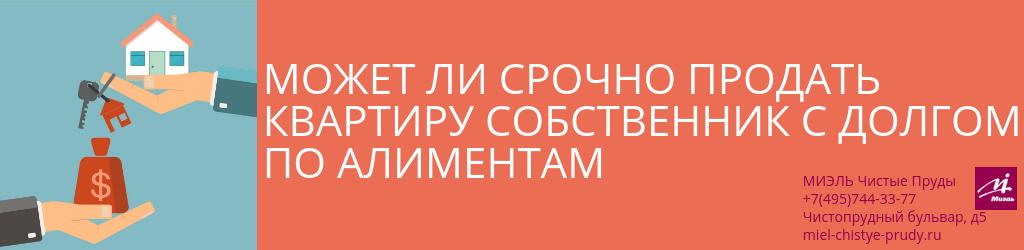 Может ли срочно продать квартиру собственник с долгом по алиментам. Агентство Миэль Чистые пруды, Москва, Чистопрудный бульвар, 5. Звоните 84957443377